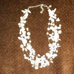 Lia Sophia 8 Strands White Necklace